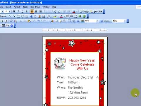 Design Invitations In PowerPoint - YouTube - how to make a party invitation on microsoft word