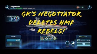 SWGOH Negotiator Gameplay! Wipes out HMF Rebels!