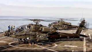 Apache Helicopters Land On USN Ship To Rearm & Refuel