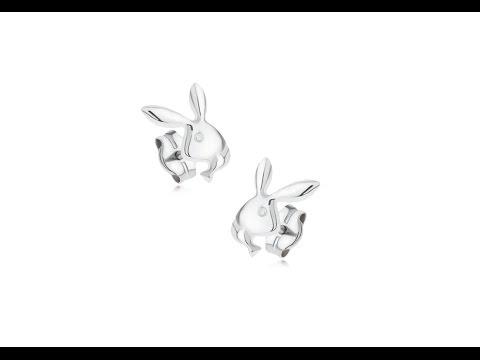 123c85750 Náušnice v bielom 14K zlate - ligotavá hlava zajačika Playboy   Piercing  Shop