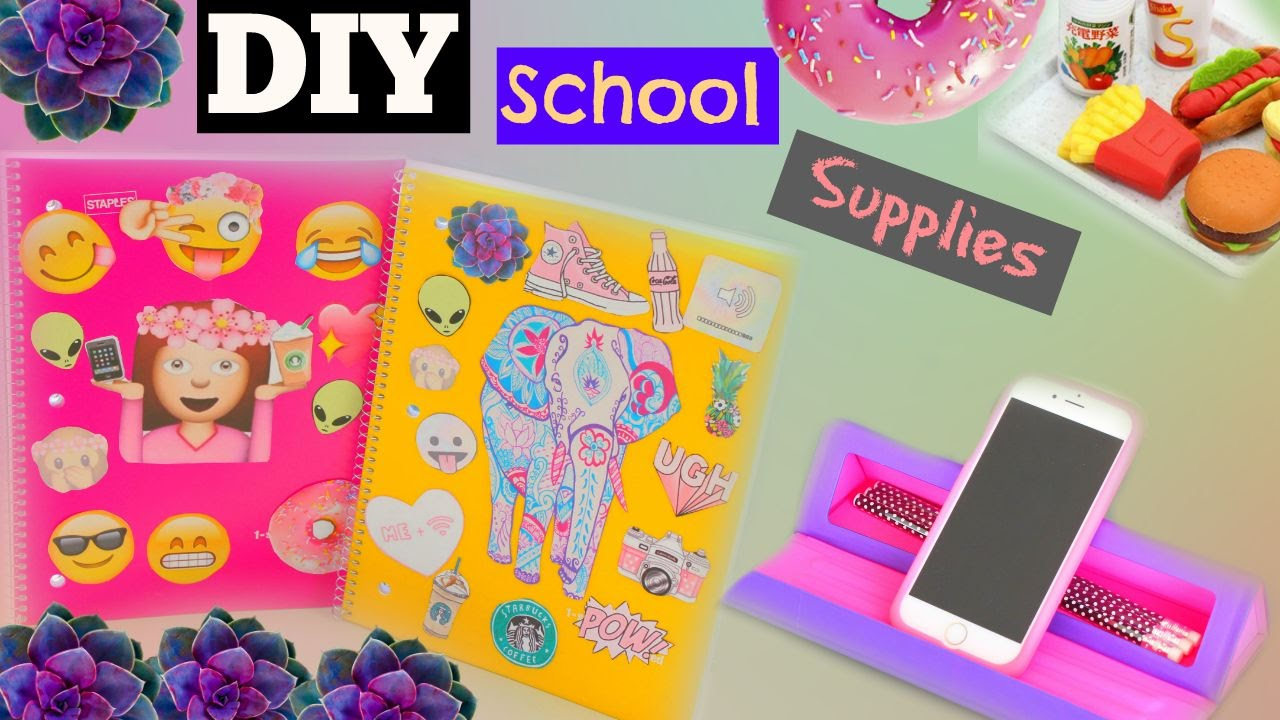 Diy Back To School Supplies 2015 Tumblr Notebooks Youtube