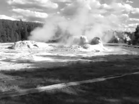 Fantastic eruption of Grotto geyser in Yellowstone National Park, USA.