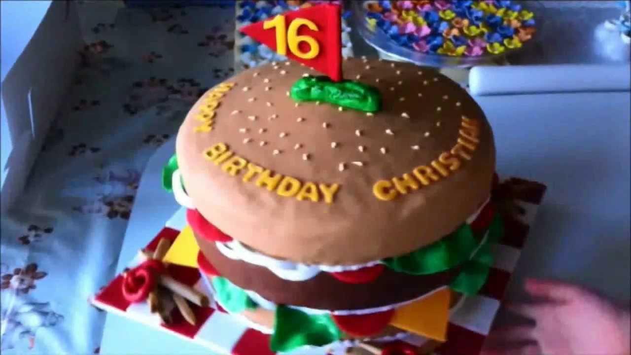 HAMBURGER CAKE MASSIVE HUGE BURGER CAKE YouTube