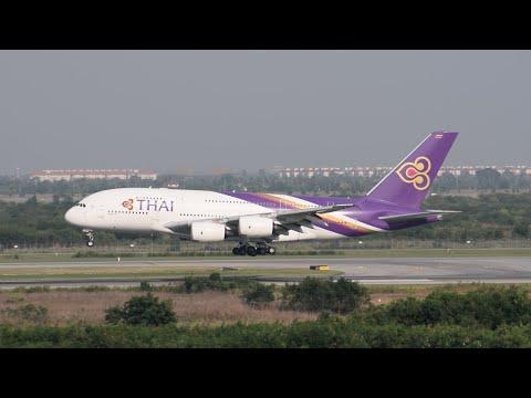 Thai Airways Airbus A380-800 [HS-TUC] Landing at BKK.