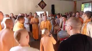 Little Adi Purusa Prabhu leading kirtan along with Maharajas