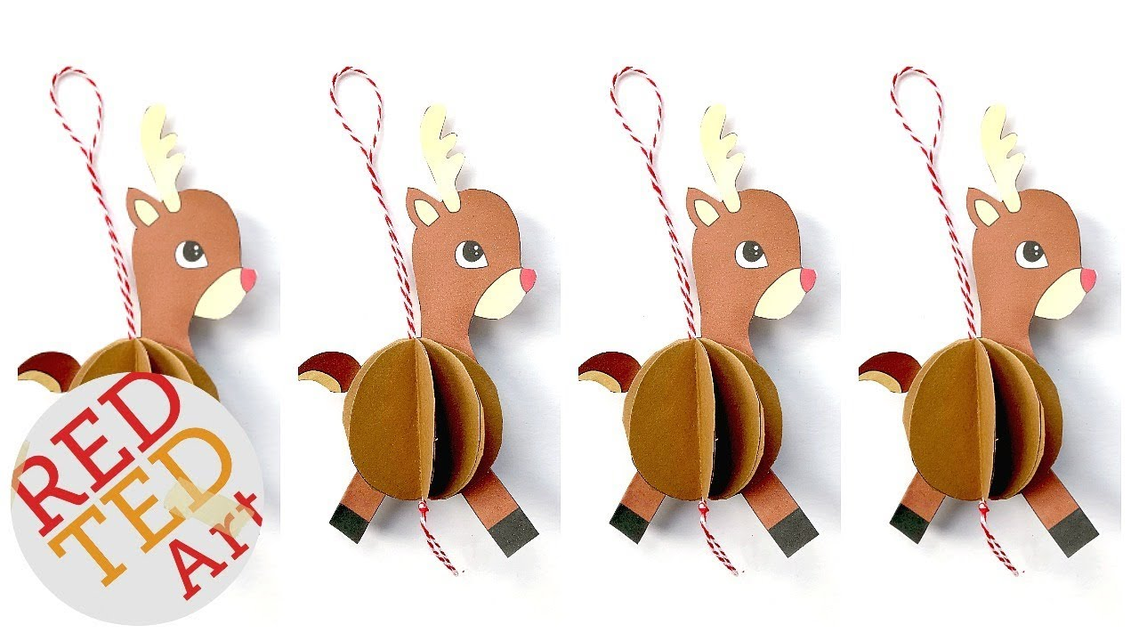 picture about Printable Christmas Ornaments titled Basic Paper Reindeer Ornament Do it yourself - such as Printable - Do-it-yourself Xmas Ornaments Paper