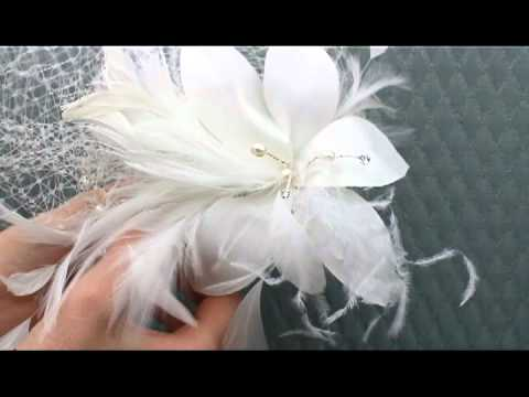 Dramatic Bird Cage Veil With Flower By Hair Comes The Bride