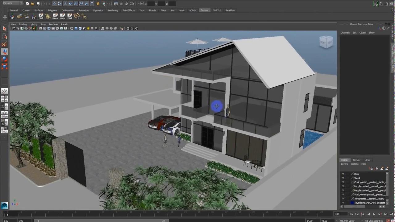 villa exterior vray lighting tutorial in autodesk maya part 5