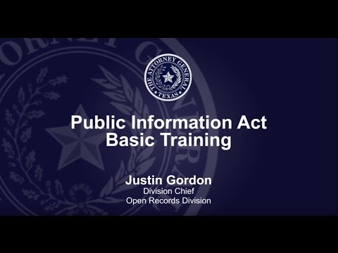 Public Information Act Basic Training