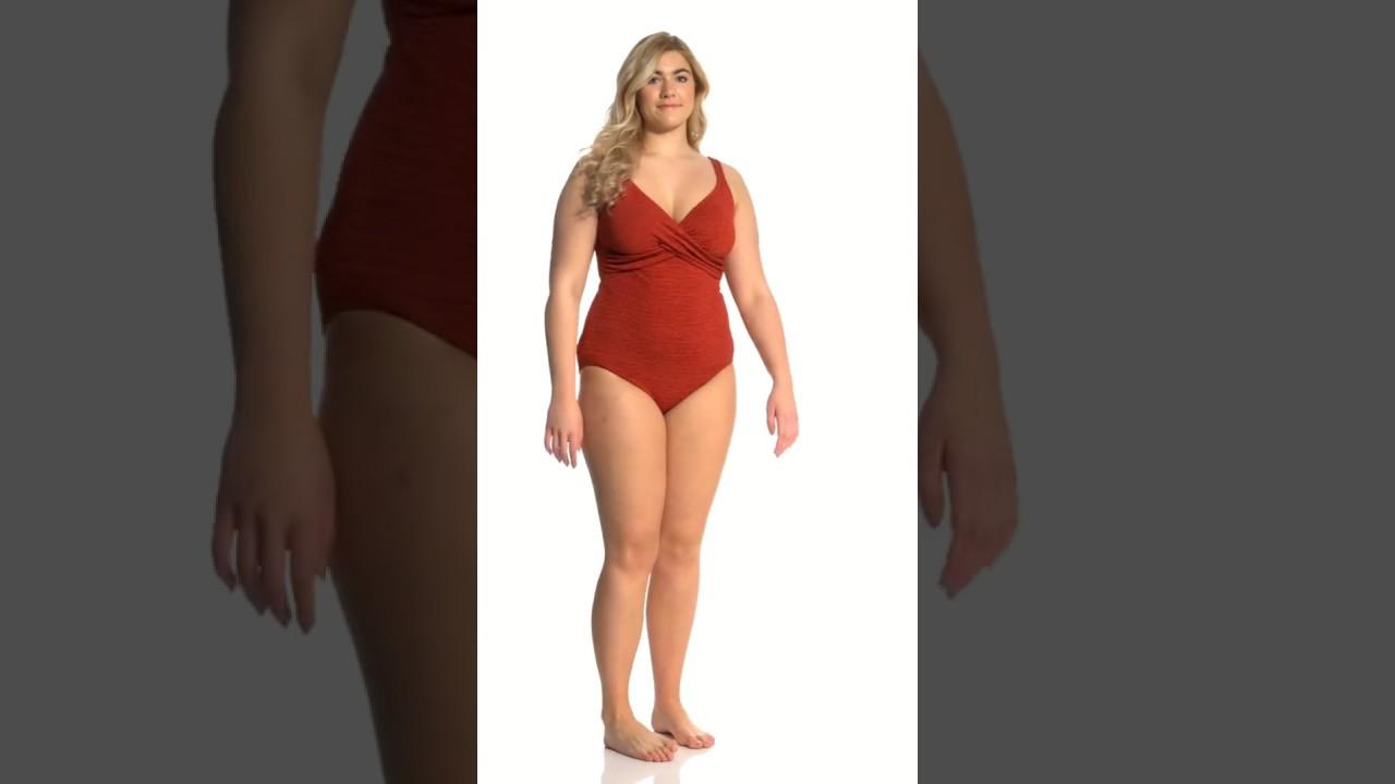 65573df3ac8 Penbrooke Krinkle Plus Size One Piece Cross Over Chlorine Resistant Swimsuit