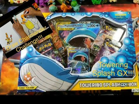 Pokemon Cards TCG Towering Splash GX Opening and Draw Charmander Challenge!