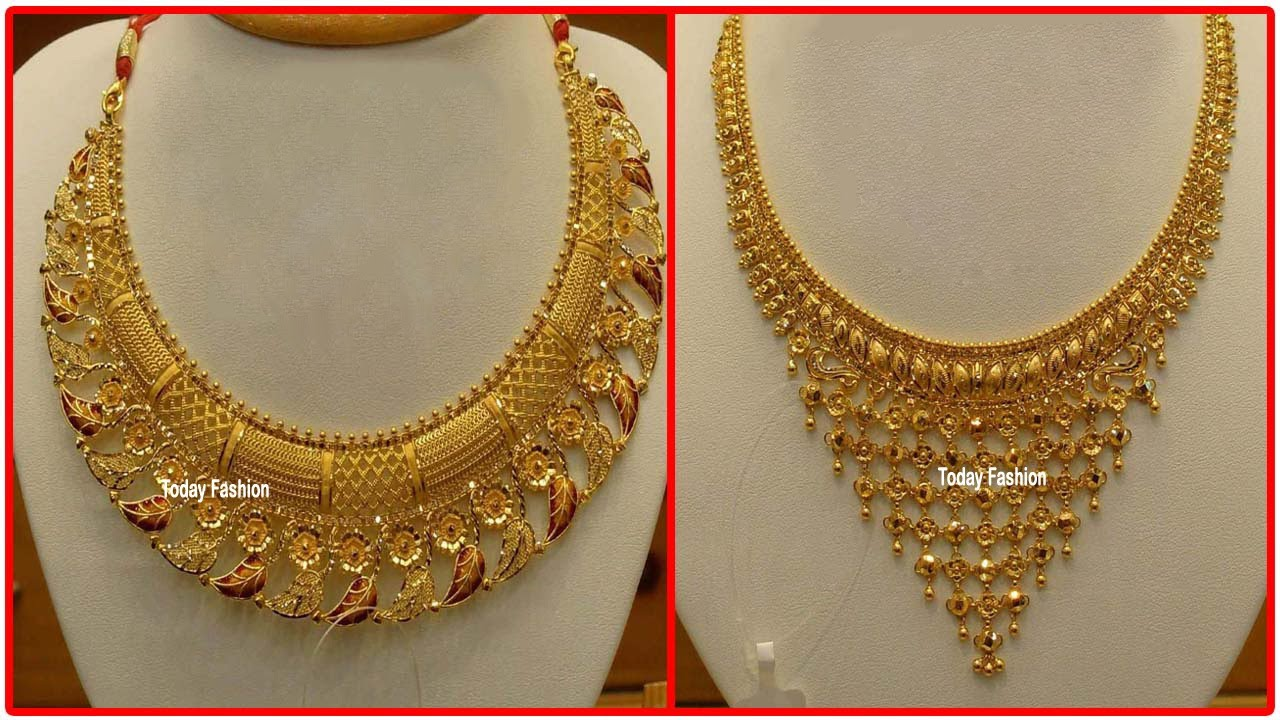 Latest light weight Gold Necklace designs | Designer gold necklace | long haram designs
