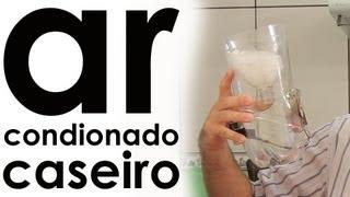 Como fazer um AR CONDICIONADO CASEIRO com cooler + PET + pilha | EXPERIÊNCIA