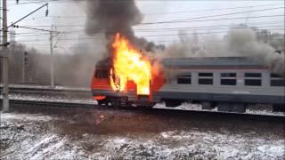 "Пожар В электричке ""Москва-Калуга"" 5/12/2014"