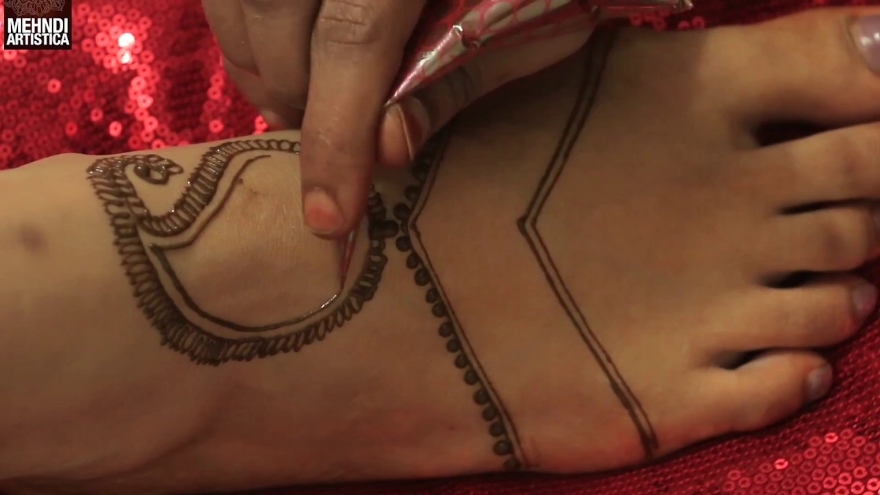 Simple Easy Feet Mehndi Design Step To Make Henna Mehandi Tattoo On Legs Beginners