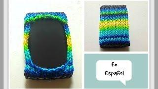 como hacer una funda para celular con gomitas rainbow loom o telar de tejer kn diy