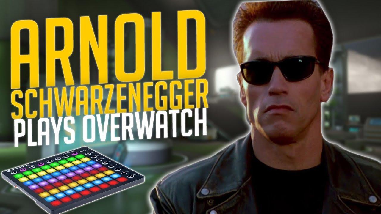 arnold schwarzenegger plays overwatch soundboard trolling youtube