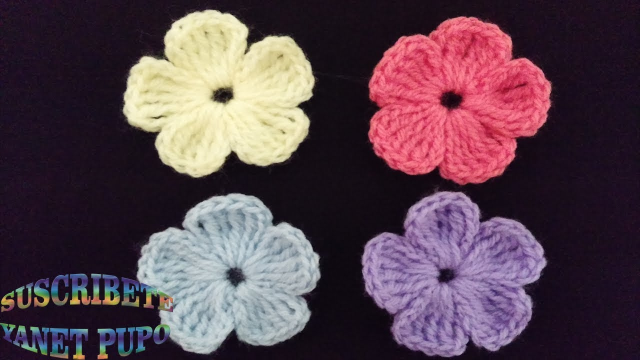 Como Tejer Flores Pequenas A Crochet Youtube