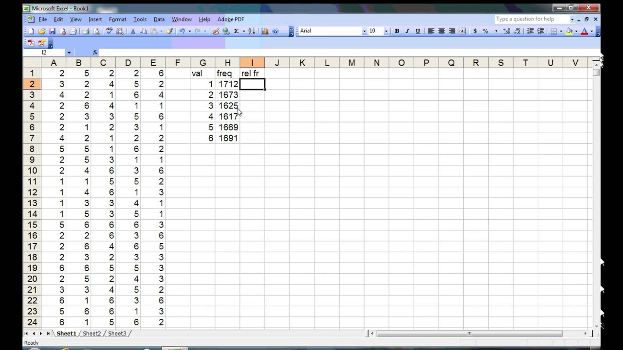 Using Excel to illustrate a uniform probability distribution