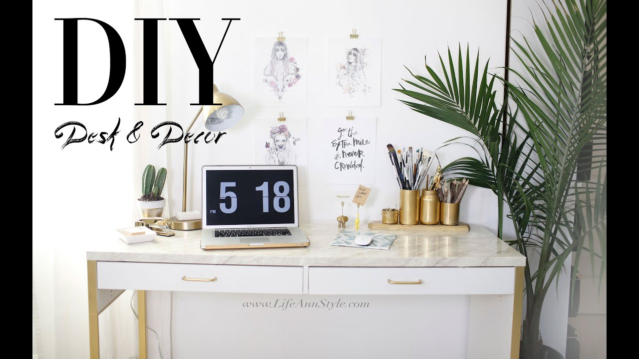 5 easy diy desk decor organization ikea hacks ann le youtube Home decor hacks pinterest