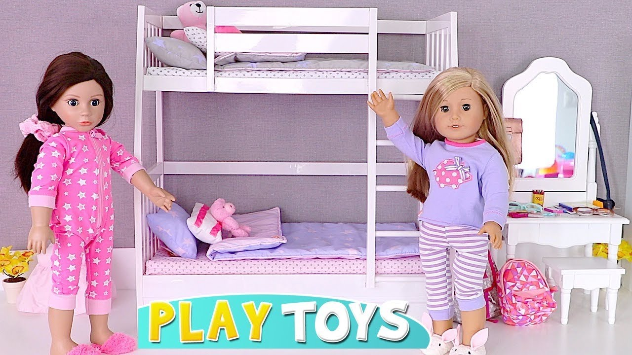 Play Ag Doll Bunk Bed Room And Bathroom Toys Youtube