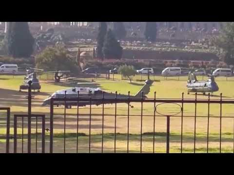 Marine One Choppers Lifting Off: Union Buildings