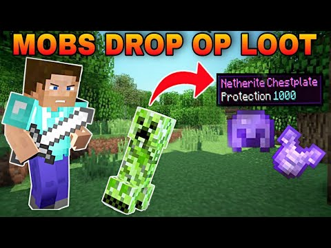 Minecraft, But Mobs Drop OP Items | Mobs Drop op mod for Minecraft pocket edition | MCPE