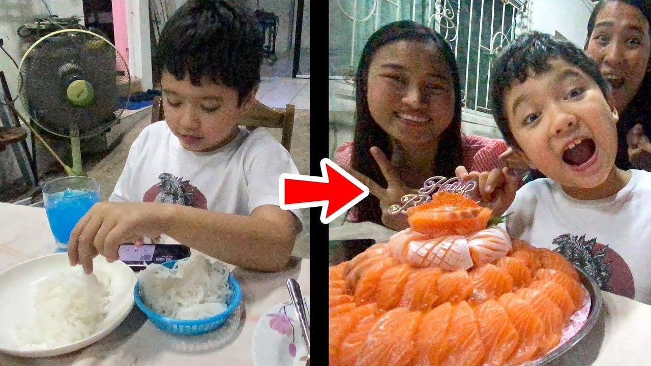 เซอร์ไพรส์วันเกิดสกายเลอร์ หลอกให้กินเค้กขนมจีน แต่เซอร์ไพรส์เค้กแซลมอน 4 กิโล