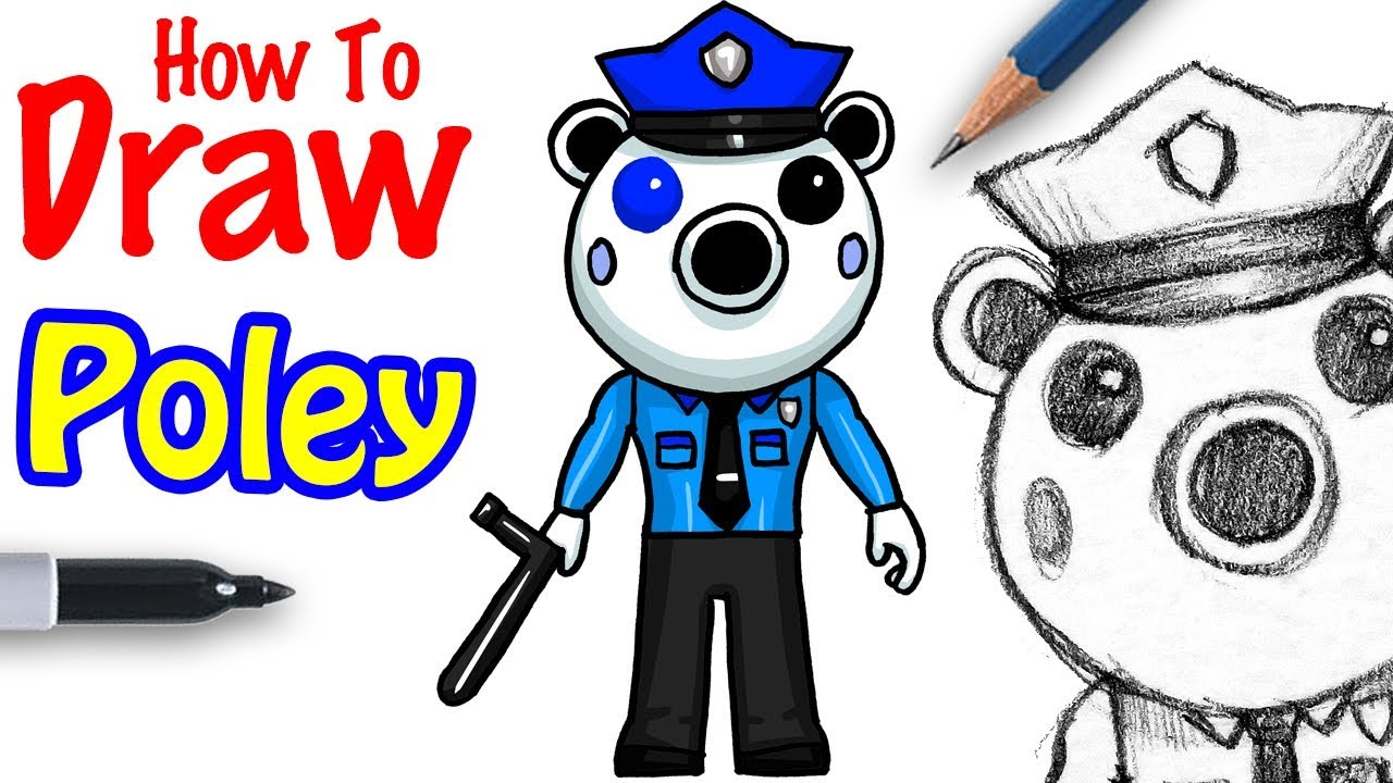 How To Draw Poley Roblox Piggy Youtube