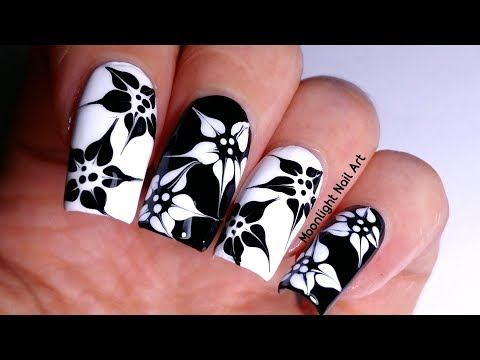 DRAG MARBLE BLACK & WHITE FLOWERS NAIL ART TUTORIAL