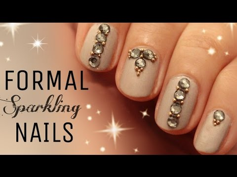 Diy Nail Art Classy Formal Nails Rhinestone Micro Beads
