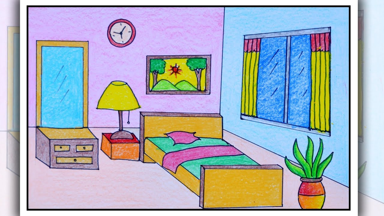 How To Draw Bedroom Bedroom Drawing For Kids Youtube