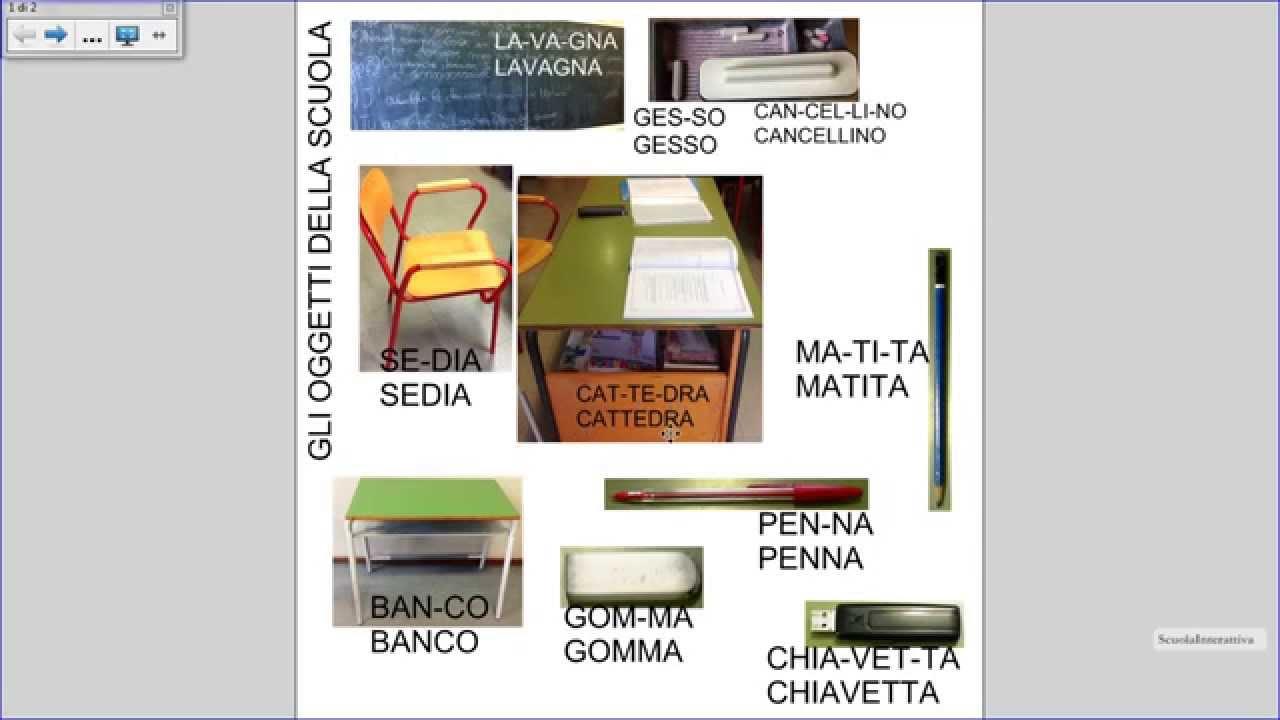 Italiano per stranieri gli oggetti della scuola 1 youtube for Disegni di casa chateau francese