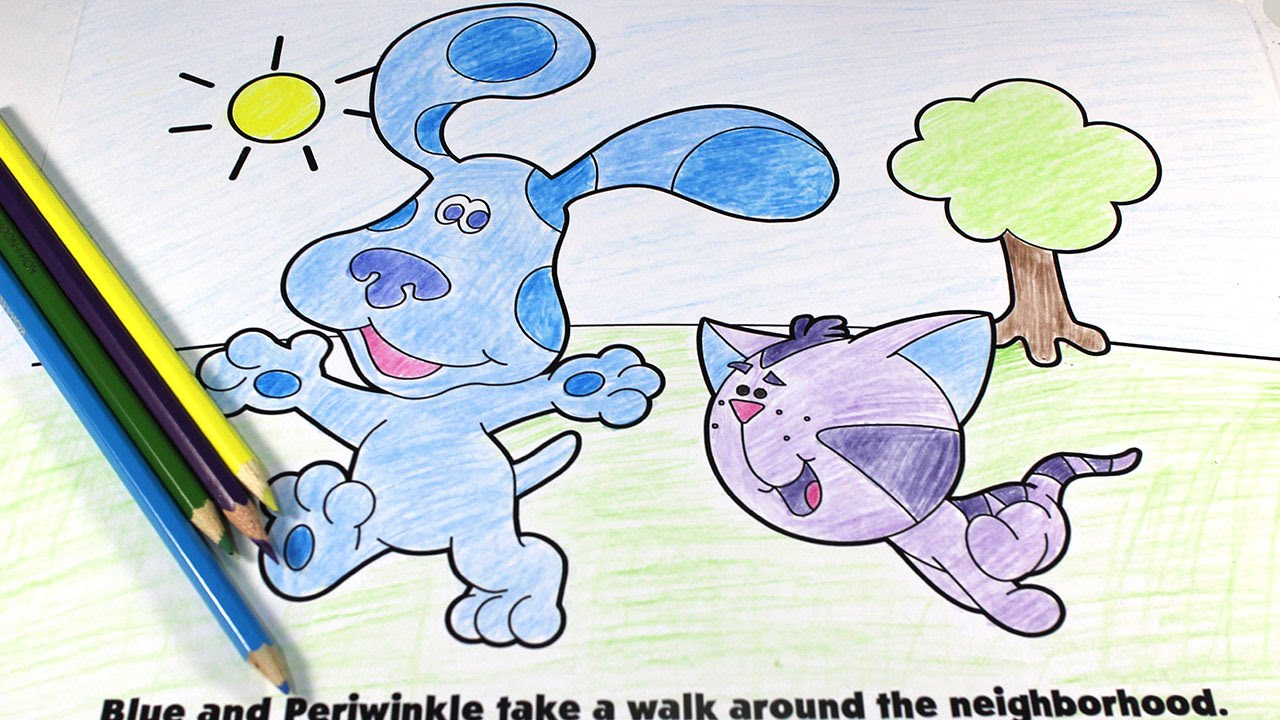 coloring blue s clues and periwinkle with colored pencils youtube