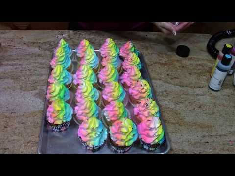 Airbrush Cake Decorating Tips : Rainbow Cupcakes- Cake Decorating- How To - YouTube