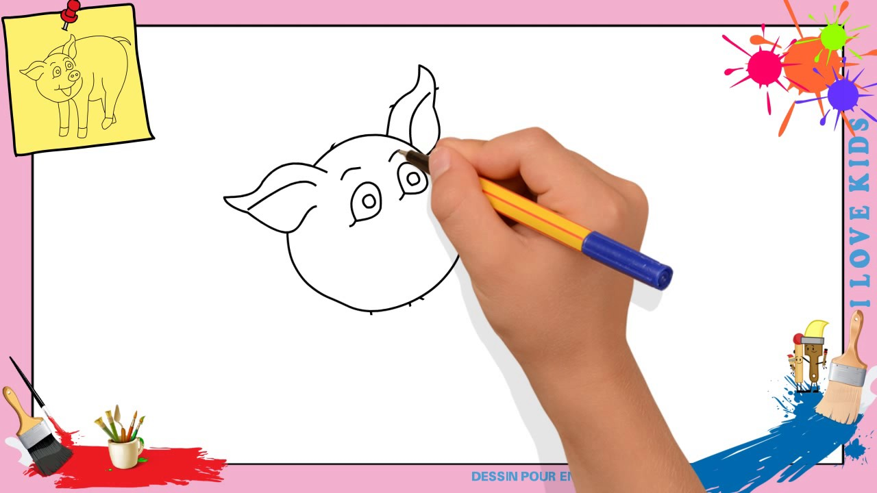 dessin cochon comment dessiner un cochon facilement pour enfants youtube. Black Bedroom Furniture Sets. Home Design Ideas