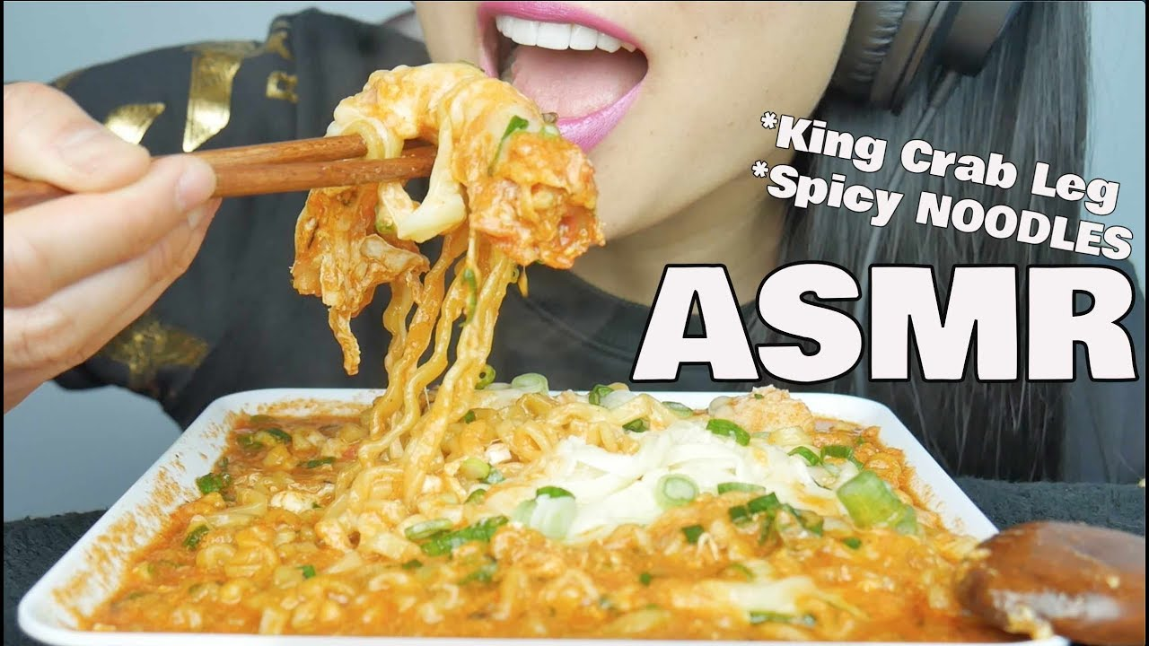 Asmr Cheesy Spicy Fire Noodles King Crab Legs Eating Sounds No Talking Sas Asmr Youtube Listening to whisper voice and eating sounds are some examples that trigger asmr. asmr cheesy spicy fire noodles king crab legs eating sounds no talking sas asmr