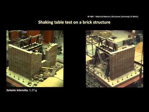 Shaking table test on a brick structure