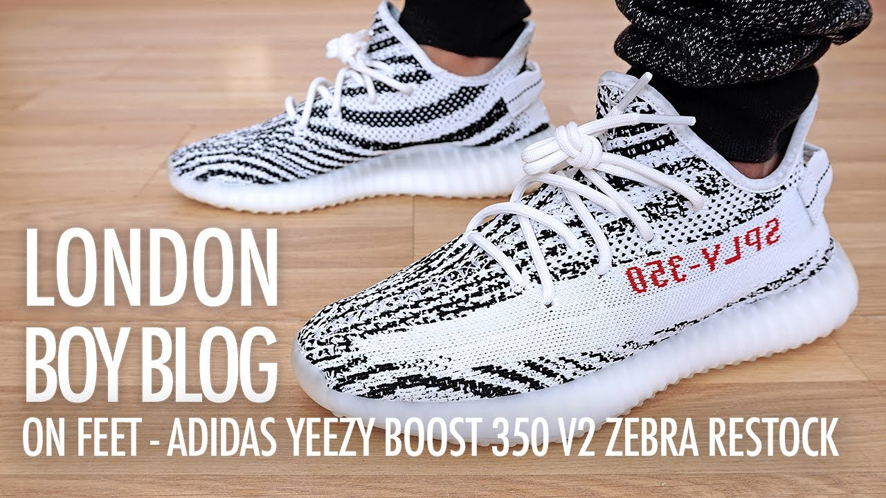 1329c6b36bf On Feet - Adidas Yeezy Boost 350 V2 Zebra Restock - YouTube