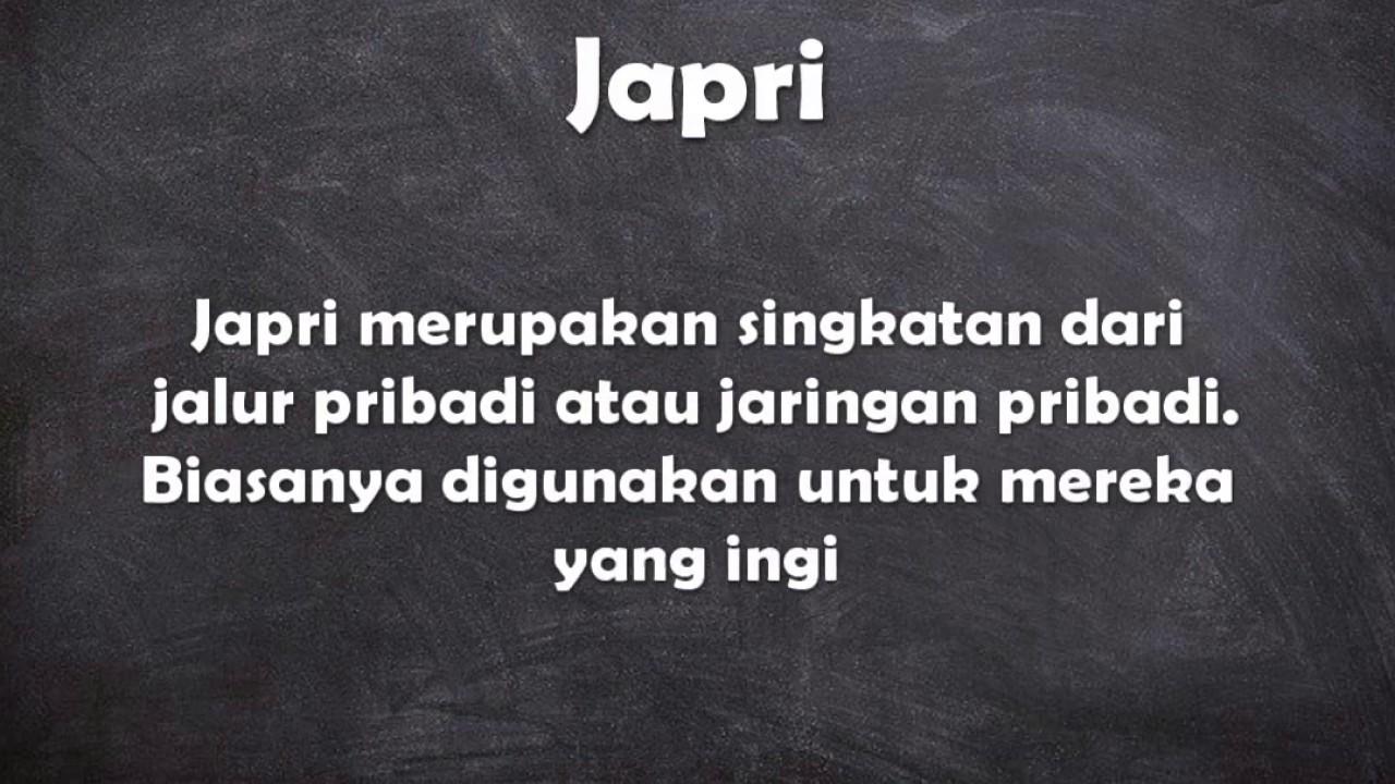 Apa arti kata Japri    YouTube