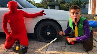 Red Man PIERCED Wheel Car VS Mr. Joe on Broken Nissan Cedric in Tire Service for Kids