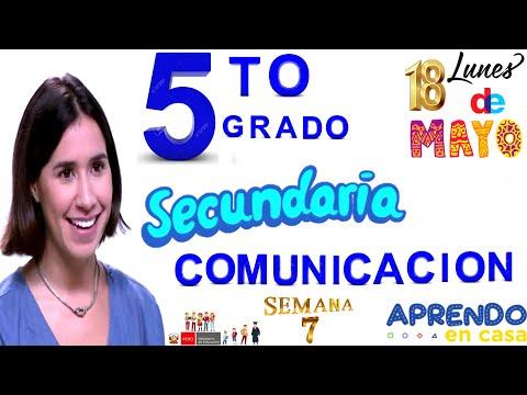 APRENDO EN CASA SECUNDARIA 5 HOY LUNES 18 DE MAYO COMUNICACION SEMANA 7 QUINTO GRADO RADIO NACIONAL