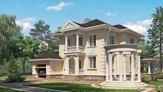 Проект дома в классическом стиле. Дом с гаражом, террасой и балконом. Ремстройсервис KR-214