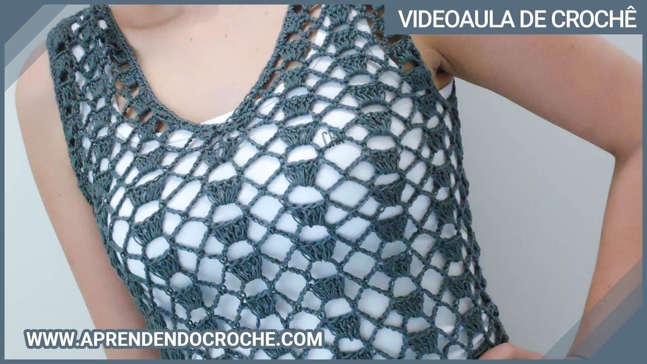 Regata de Crochê com Decote em V - Aprendendo Crochê - YouTube 1d7b89fc57f