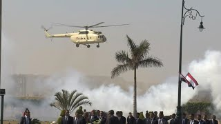 Helicopter carrying the body of Mubarak arrives ahead of his funeral in Cairo | AFP