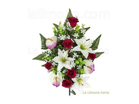 Ramos Artificiales Ramo Artificial Flores Rosas Rojas Con Anthuriums Y Liliums La Llimona Youtube