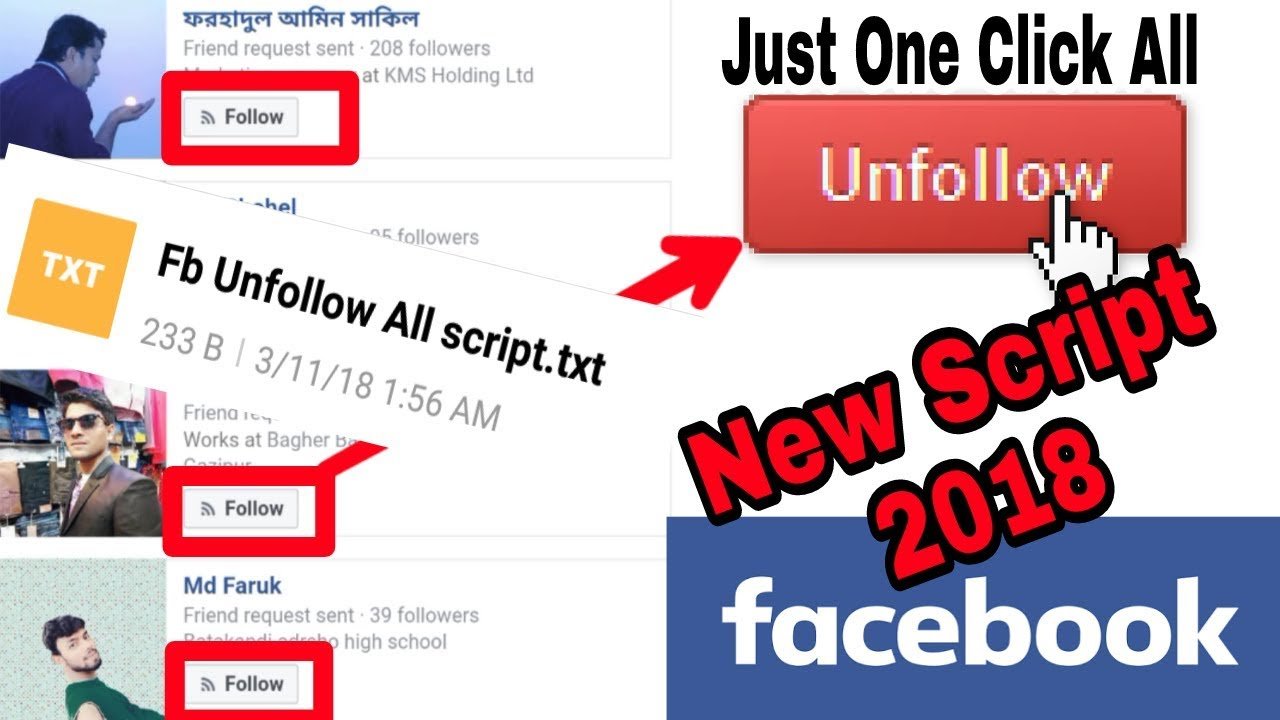 Just One Click Unfollow All Following On Facebook At Once Android | Save  Your Account (New Script)