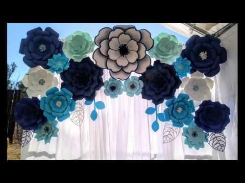 Paper Flower Backdrop TUTORIAL DIY Wedding Backdrop Blue theme