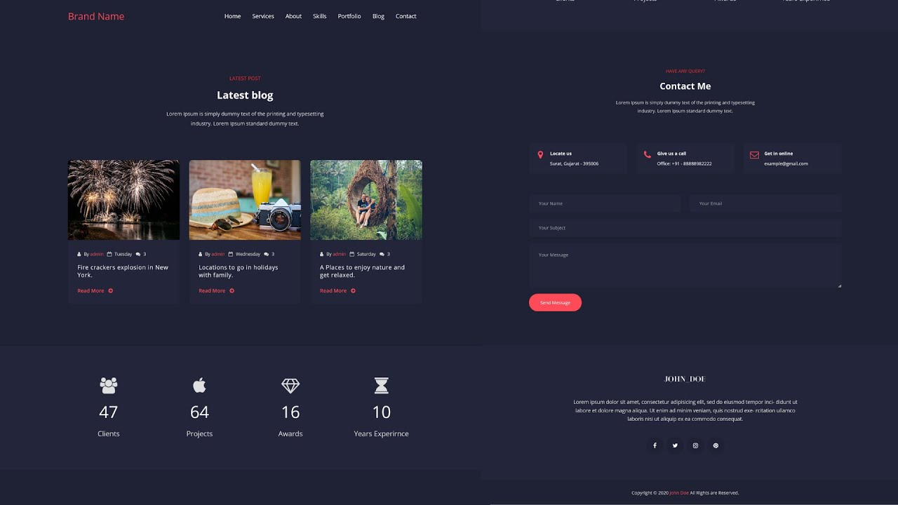 Responsive Personal Portfolio using HTML, CSS and jQuery | Part-7 (Last Part)