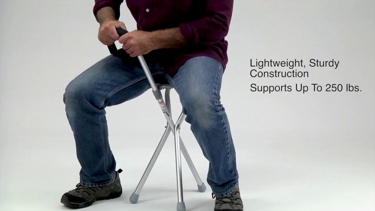 walking stick chair heavy duty chicco travel high instructions seat and cane all in one 19605 youtube